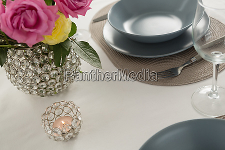 plate and cutlery set elegantly on