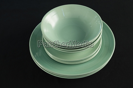 dining plates set on black theme