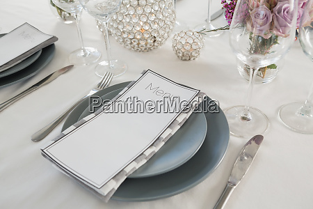 menu card plate and cutlery set