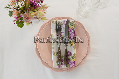 beautiful floral theme table set for