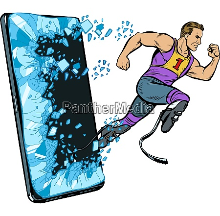 legless male athlete running with a