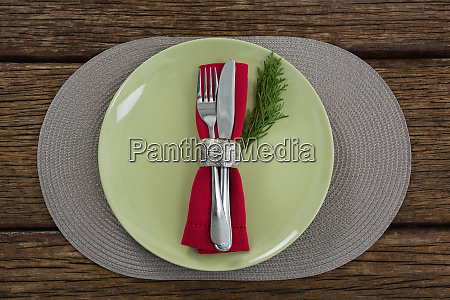 cutlery with napkin and fern in