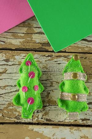 handmade christmas trees and craft material