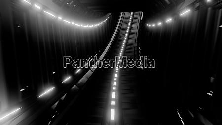 glowing fantasy tunnel corridor 3d illustration