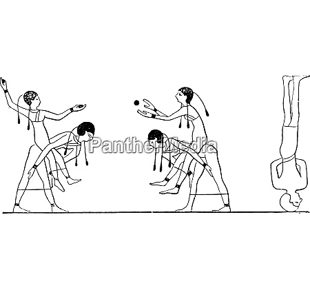 games of the egyptians vintage engraving