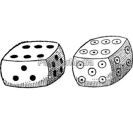 ordinary dice vintage engraving