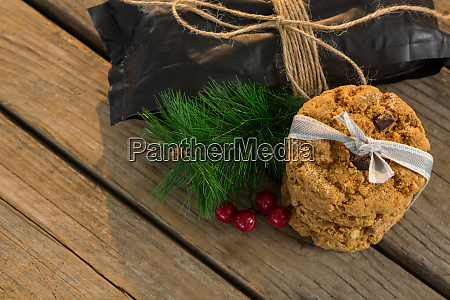 high angle view of cookies with
