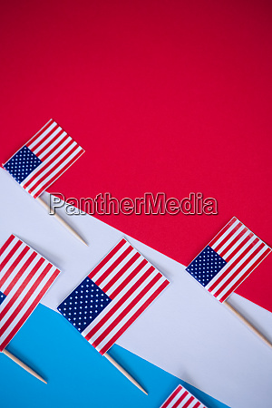 directly above shot of american flags
