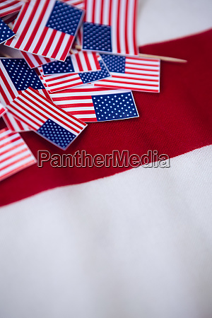 high angle view of national flags