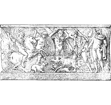 a hunt vintage engraving