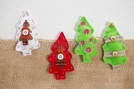 various handmade christmas tree on white