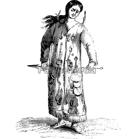a shaman vintage engraving