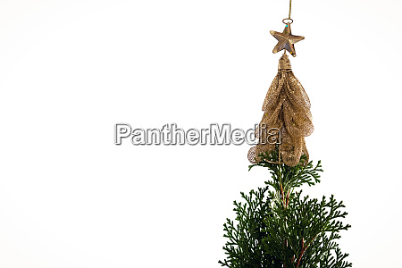decorated christmas tree against white background