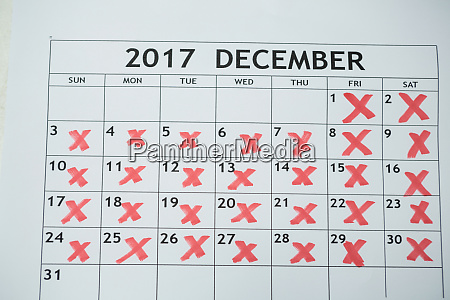 calendar showing 31st december and other