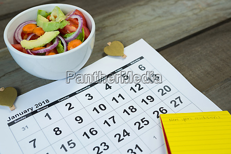 calendar with new year resolution and