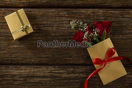 flower bouquet in a card and