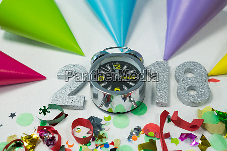 new year 2018 with alarm clock