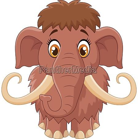 cartoon cute mammoth isolated on white