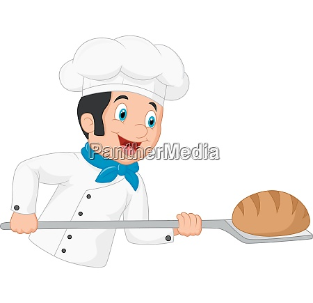 cartoon baker holding bakery peel tool