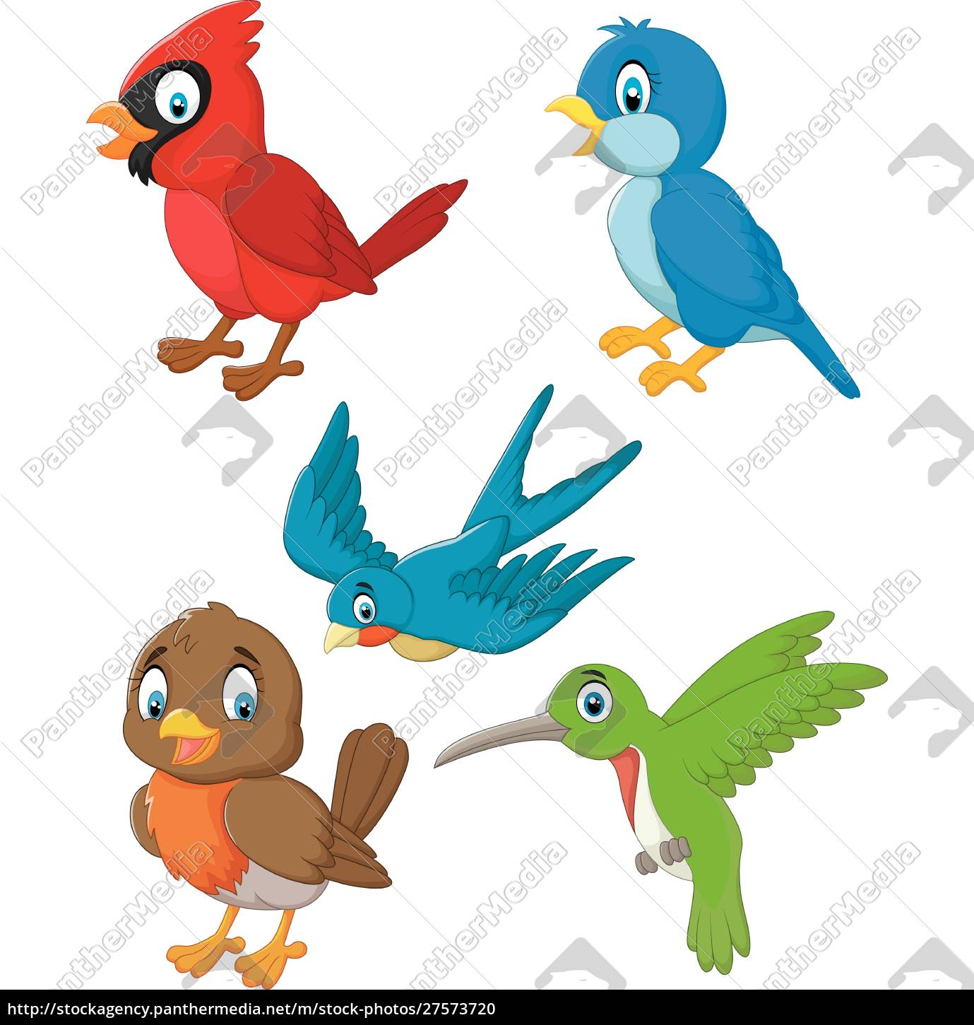 Cartoon Cute Birds Collection Set Royalty Free Photo 27573720 Panthermedia Stock Agency