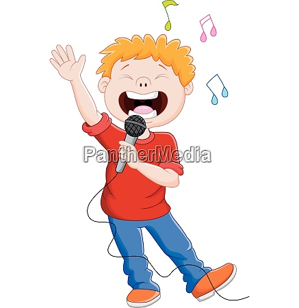 cartoon singing happily while holding the