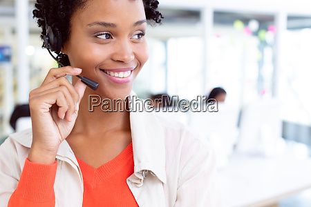 female customer service executive standing with