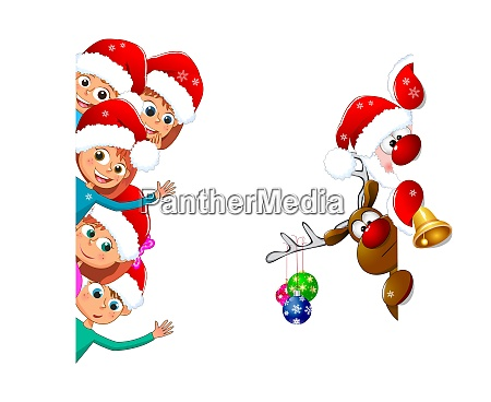 kids and santa claus with a