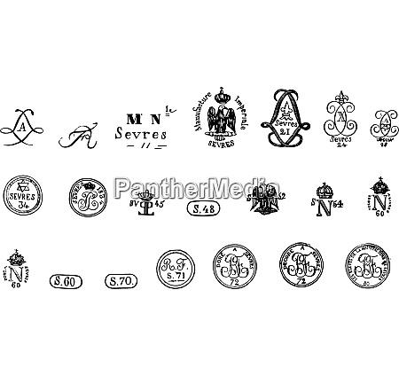 sevres brands vintage engraving