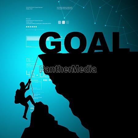 man climbing for goal
