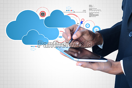 man showing cloud technology