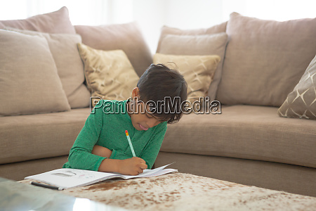 boy studying in living at home