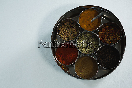 typical spice box with multiple containers