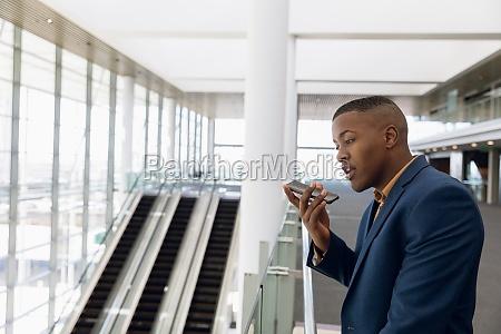 businessman using smartphone at work