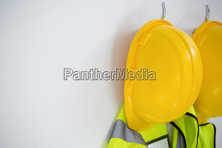 close up of protective workwear hanging