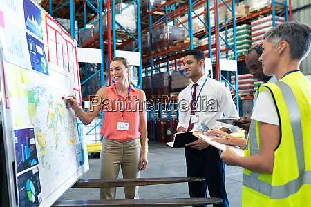 warehouse staffs discussing over whiteboard in