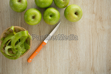 overhead view of granny smith apples