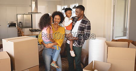 happy african american parents with their