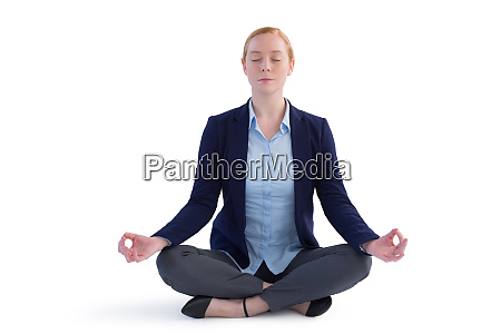 businesswoman performing yoga