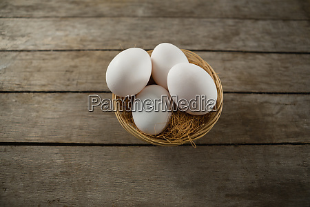 directly above shot of eggs in