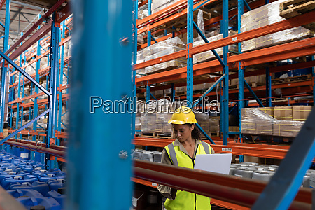 female worker working in warehouse