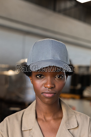 female worker looking at camera in