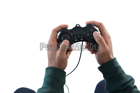 man playing video game against white