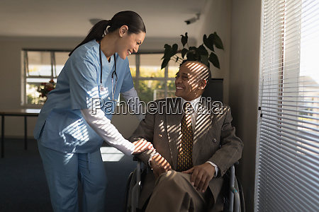 front view of female doctor talking