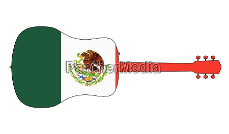 acoustic guitar silhouette with mexican national