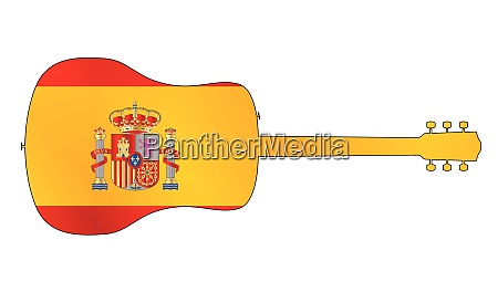 acoustic guitar silhouette with spanish national