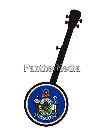 banjo silhouette with maine state flag