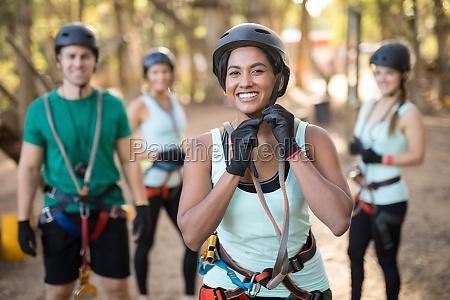 trainee wearing protective helmet