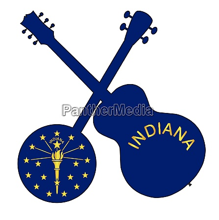 indiana state flag banjo and guitar