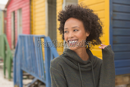 young african american woman standing at