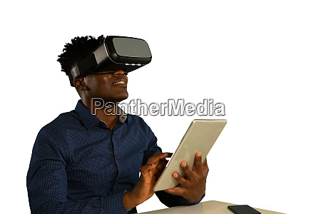 young businessman using a vr headset